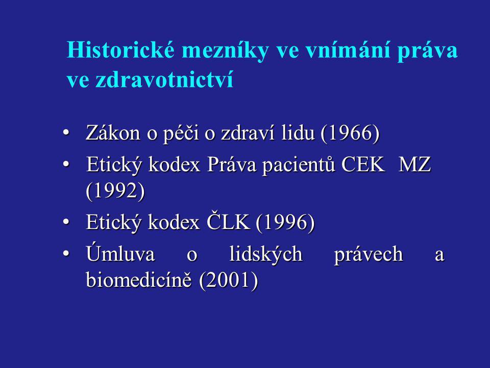 Historické mezníky ve vnímání práva ve zdravotnictví • Zákon o péči o zdraví lidu (1966) • Etický kodex Práva pacientů CEK MZ (1992) • Etický kodex ČL