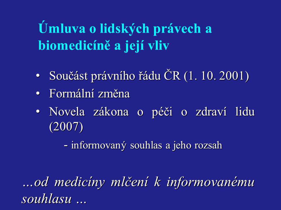 Úmluva o lidských právech a biomedicíně a její vliv • Součást právního řádu ČR (1. 10. 2001) • Formální změna • Novela zákona o péči o zdraví lidu (20