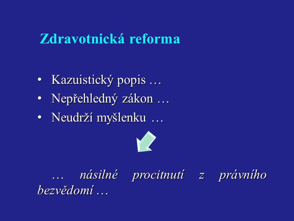 Zdravotnická reforma • Kazuistický popis … • Nepřehledný zákon … • Neudrží myšlenku … … násilné procitnutí z právního bezvědomí …