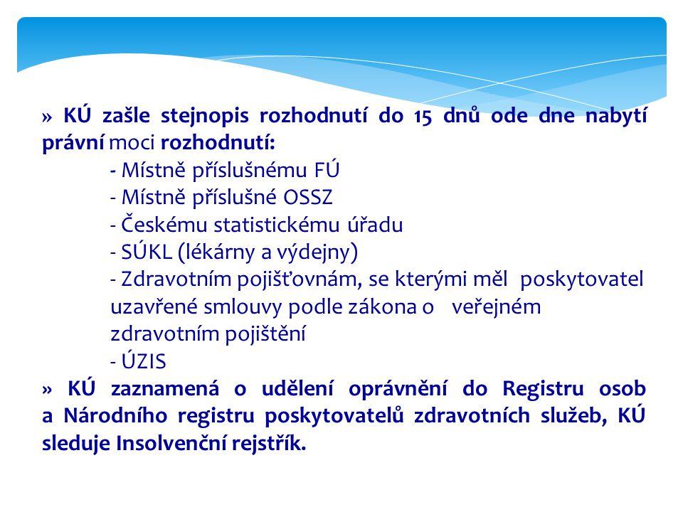 » KÚ zašle stejnopis rozhodnutí do 15 dnů ode dne nabytí právní moci rozhodnutí: - Místně příslušnému FÚ - Místně příslušné OSSZ - Českému statistické
