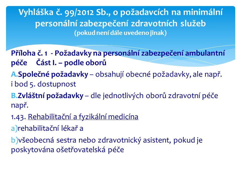 Příloha č. 1 - Požadavky na personální zabezpečení ambulantní péče Část I. – podle oborů A.Společné požadavky – obsahují obecné požadavky, ale např. i