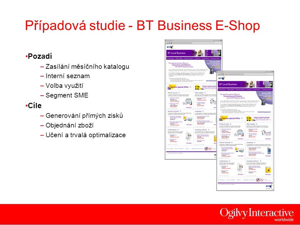 16 Případová studie - BT Business E-Shop •Pozadí –Zasílání měsíčního katalogu –Interní seznam –Volba využití –Segment SME •Cíle –Generování přímých zisků –Objednání zboží –Učení a trvalá optimalizace