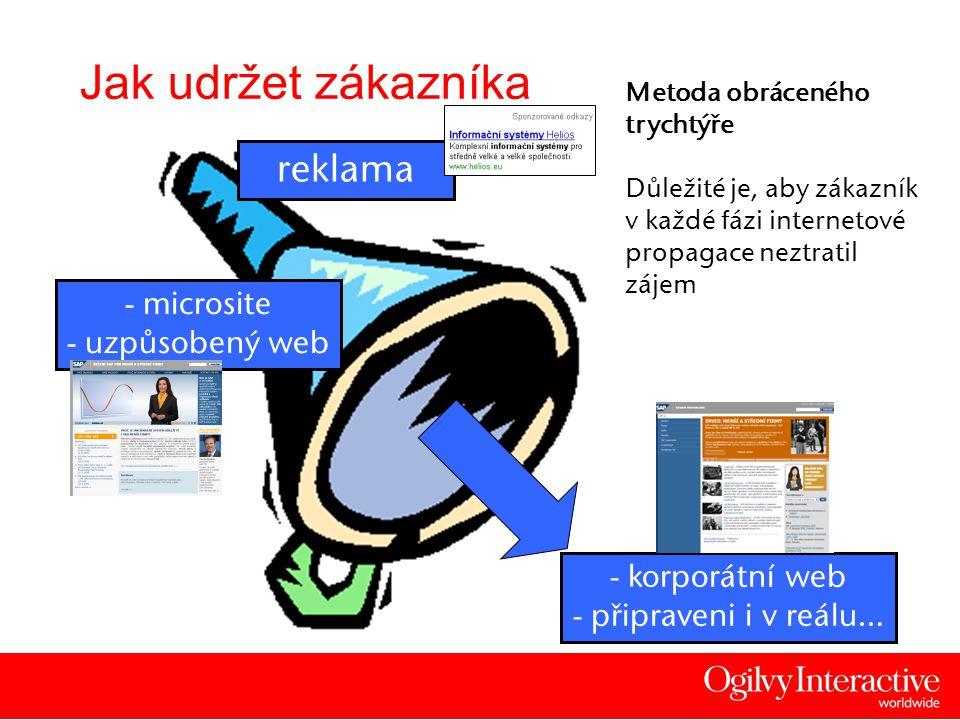 6 Jak udržet zákazníka Metoda obráceného trychtýře Důležité je, aby zákazník v každé fázi internetové propagace neztratil zájem - microsite - uzpůsobený web - korporátní web - připraveni i v reálu… reklama