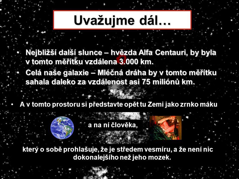 Uvažujme dál… •Nejbližší další slunce – hvězda Alfa Centauri, by byla v tomto měřítku vzdálena 3.000 km. •Celá naše galaxie – Mléčná dráha by v tomto