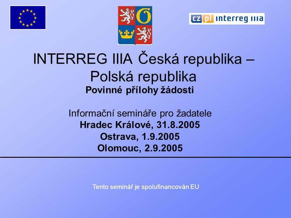 Interreg IIIA 11.investiční projekty – vyplněná tabulka pro výpočet čistého výnosu.