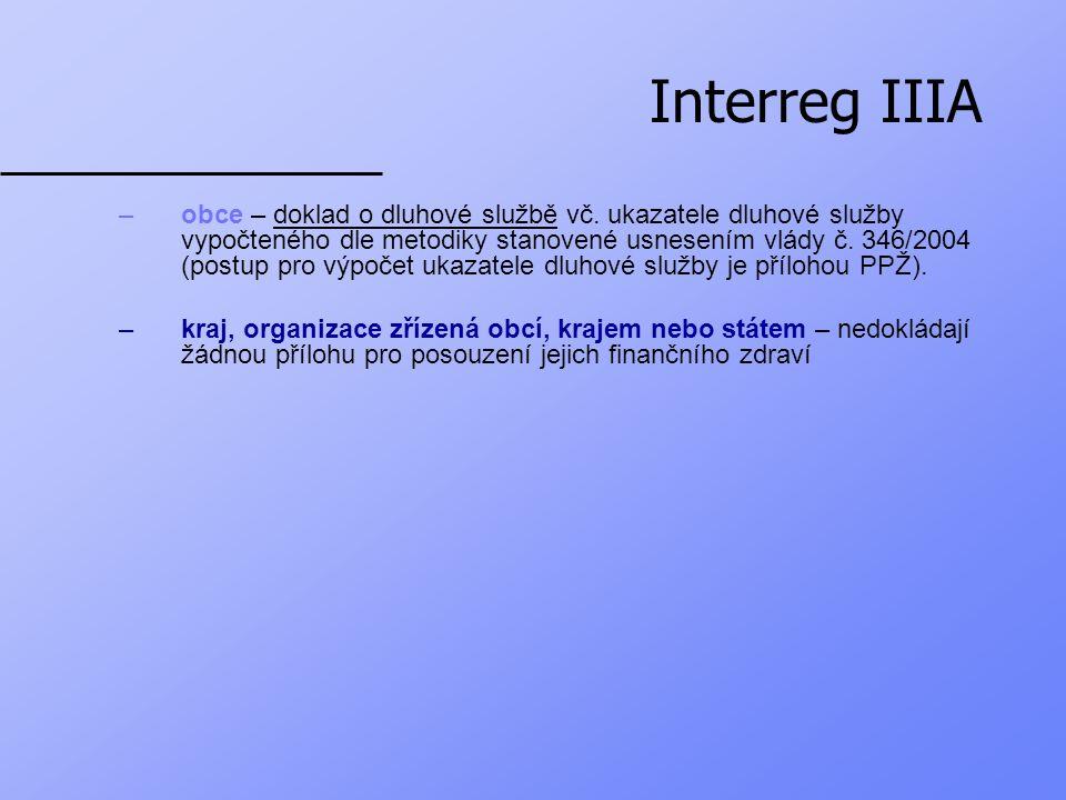 Interreg IIIA 3.Čestné prohlášení žadatele Žadatel disponuje dostatečnými zdroji potřebnými na realizaci projektu.