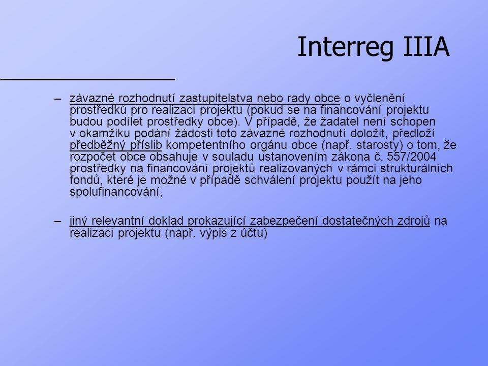Interreg IIIA 4.čestné prohlášení, že žadatel nespadá do žádné kategorie vyjmenované v kap.