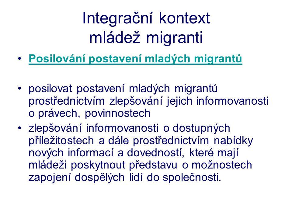 Integrační kontext mládež migranti •Posilování postavení mladých migrantůPosilování postavení mladých migrantů •posilovat postavení mladých migrantů prostřednictvím zlepšování jejich informovanosti o právech, povinnostech •zlepšování informovanosti o dostupných příležitostech a dále prostřednictvím nabídky nových informací a dovedností, které mají mládeži poskytnout představu o možnostech zapojení dospělých lidí do společnosti.