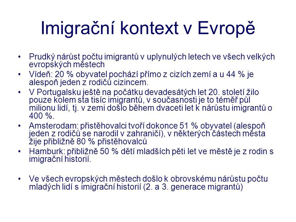 Imigrační kontext v Evropě •Prudký nárůst počtu imigrantů v uplynulých letech ve všech velkých evropských městech •Vídeň: 20 % obyvatel pochází přímo z cizích zemí a u 44 % je alespoň jeden z rodičů cizincem.