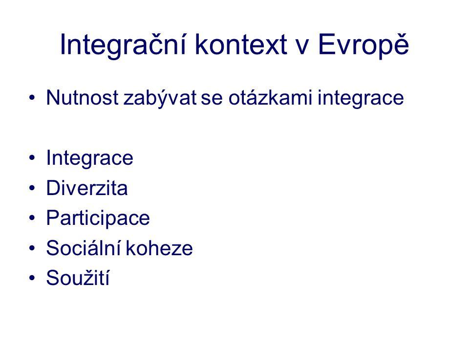 Integrační kontext v Evropě •Nutnost zabývat se otázkami integrace •Integrace •Diverzita •Participace •Sociální koheze •Soužití