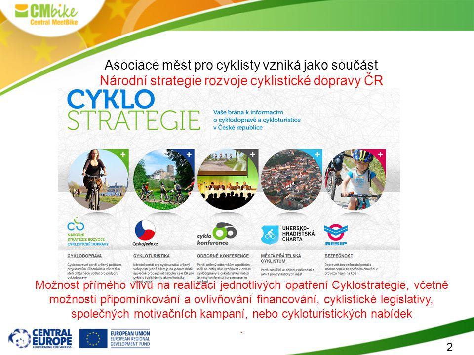 2 Asociace měst pro cyklisty vzniká jako součást Národní strategie rozvoje cyklistické dopravy ČR Možnost přímého vlivu na realizaci jednotlivých opat
