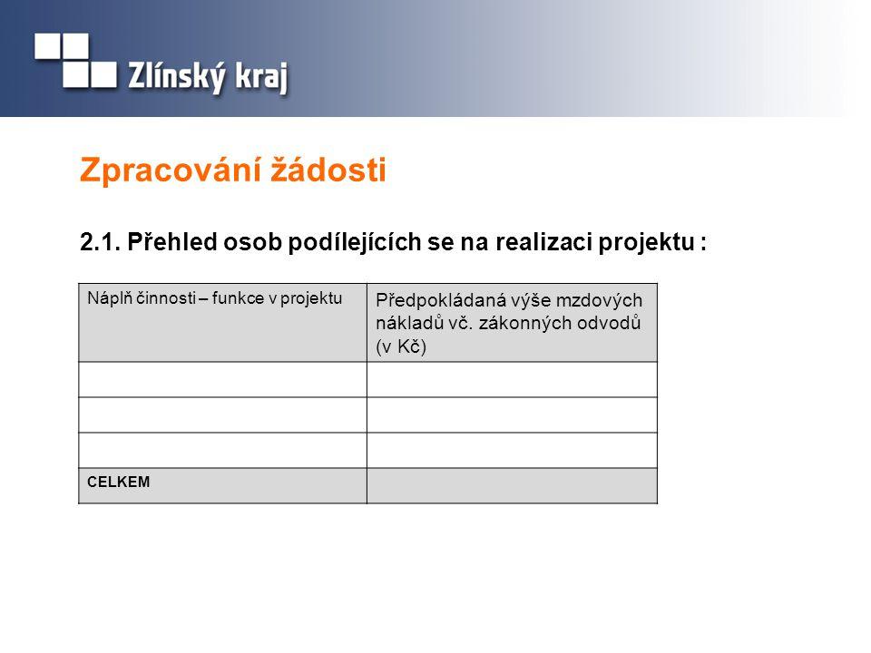 Zpracování žádosti 2.1. Přehled osob podílejících se na realizaci projektu : Náplň činnosti – funkce v projektu Předpokládaná výše mzdových nákladů vč
