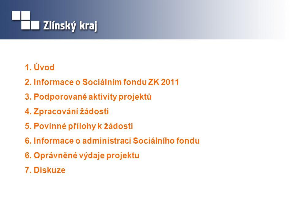 1. Úvod 2. Informace o Sociálním fondu ZK 2011 3. Podporované aktivity projektů 4. Zpracování žádosti 5. Povinné přílohy k žádosti 6. Informace o admi