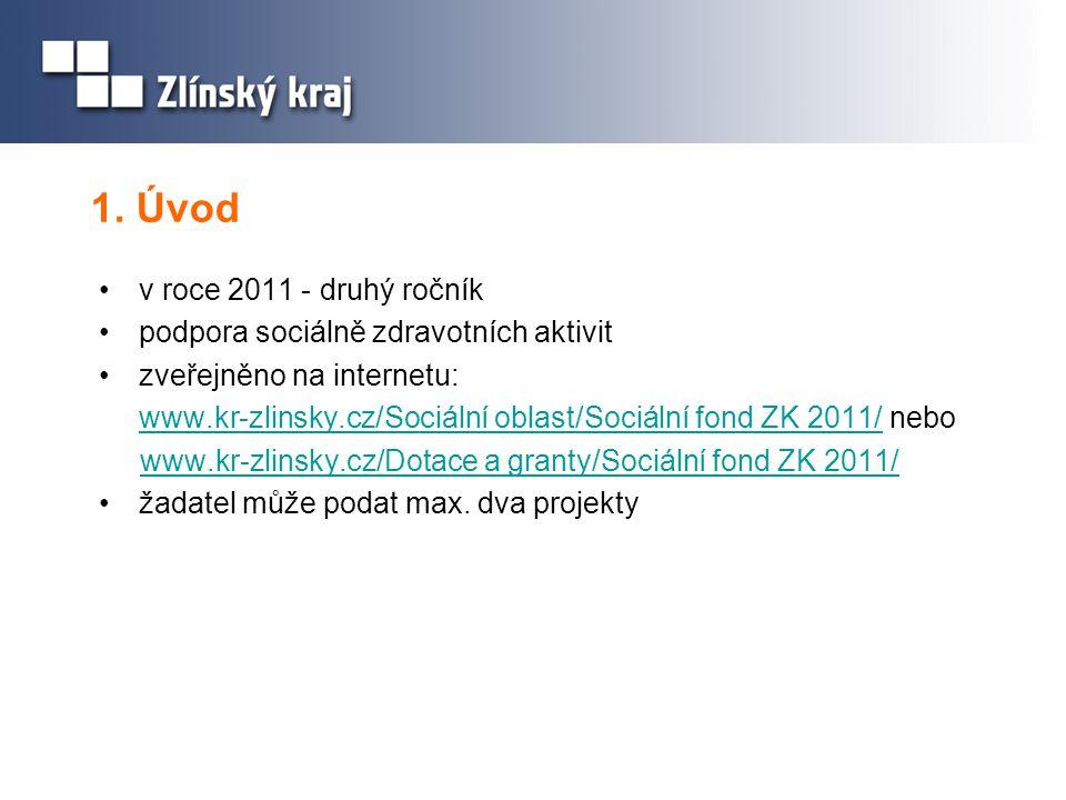 1. Úvod •v roce 2011 - druhý ročník •podpora sociálně zdravotních aktivit •zveřejněno na internetu: www.kr-zlinsky.cz/Sociální oblast/Sociální fond ZK