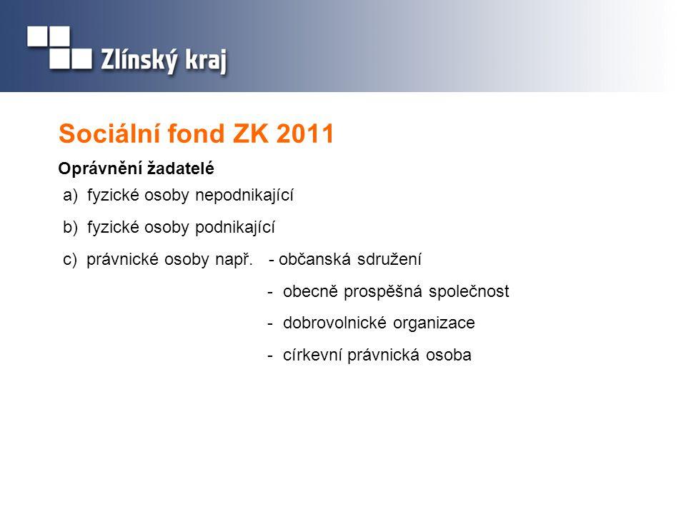 Sociální fond ZK 2011 Oprávnění žadatelé a) fyzické osoby nepodnikající b) fyzické osoby podnikající c) právnické osoby např. - občanská sdružení - ob