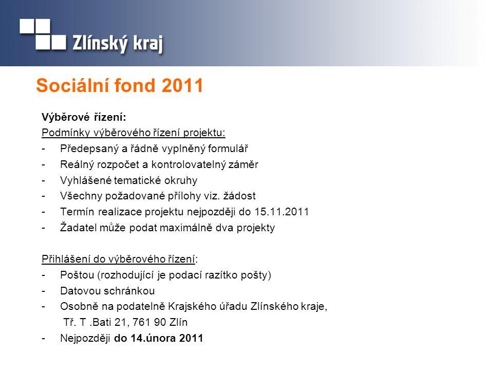 Sociální fond 2011 Výběrové řízení: Podmínky výběrového řízení projektu: -Předepsaný a řádně vyplněný formulář -Reálný rozpočet a kontrolovatelný zámě