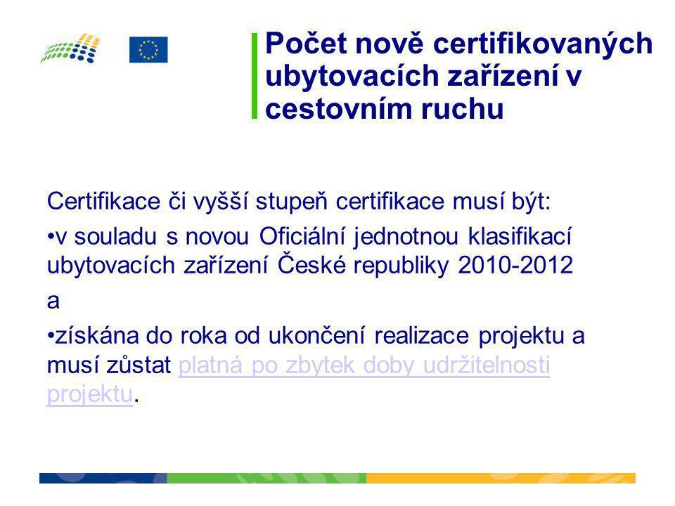 Počet nově certifikovaných ubytovacích zařízení v cestovním ruchu Certifikace či vyšší stupeň certifikace musí být: •v souladu s novou Oficiální jedno