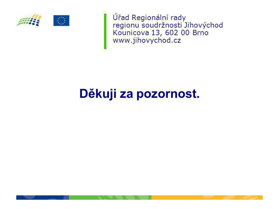Úřad Regionální rady regionu soudržnosti Jihovýchod Kounicova 13, 602 00 Brno www.jihovychod.cz Děkuji za pozornost.