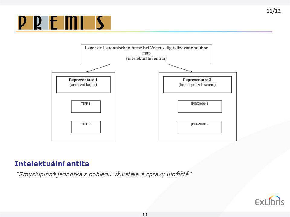 """11 Intelektuální entita """"Smysluplnná jednotka z pohledu uživatele a správy úložiště"""" 11/12"""