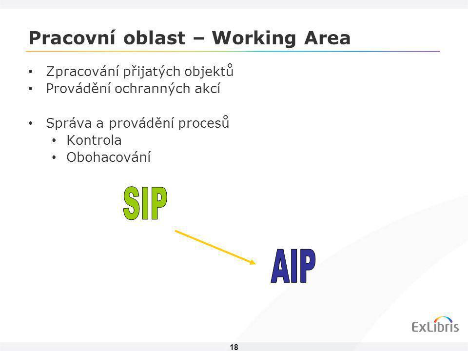 18 Pracovní oblast – Working Area • Zpracování přijatých objektů • Provádění ochranných akcí • Správa a provádění procesů • Kontrola • Obohacování