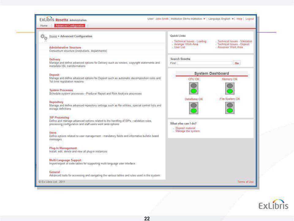 23 Výstup ze systému • Publikační část – zpřístupnění pro externí systémy (Primo) • OAI-PMH • SRU/SRW • Část pro dodání objektu • Prohlížeče • Rosetta může fungovat i jako light archive • Vše na jednom místě • Jednotná struktura dat • Bez ohrožení archivovaných objektů