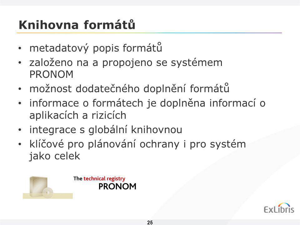 25 Knihovna formátů • metadatový popis formátů • založeno na a propojeno se systémem PRONOM • možnost dodatečného doplnění formátů • informace o formá