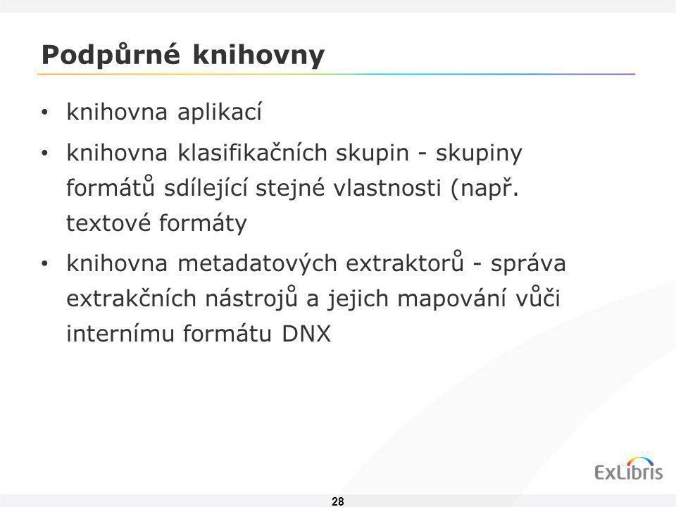 28 Podpůrné knihovny • knihovna aplikací • knihovna klasifikačních skupin - skupiny formátů sdílející stejné vlastnosti (např. textové formáty • kniho