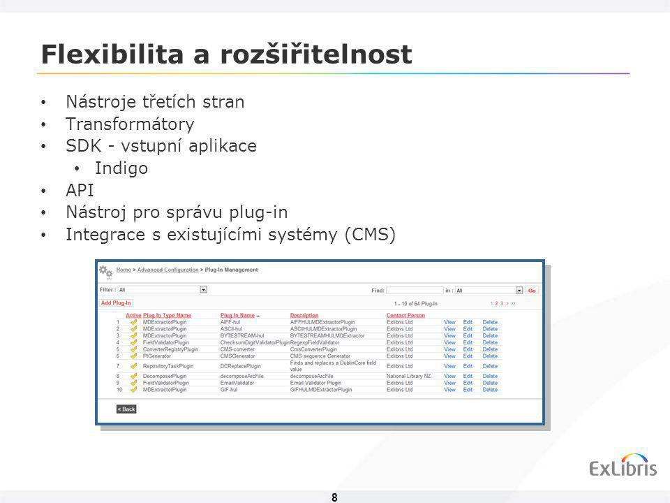 8 Flexibilita a rozšiřitelnost • Nástroje třetích stran • Transformátory • SDK - vstupní aplikace • Indigo • API • Nástroj pro správu plug-in • Integr