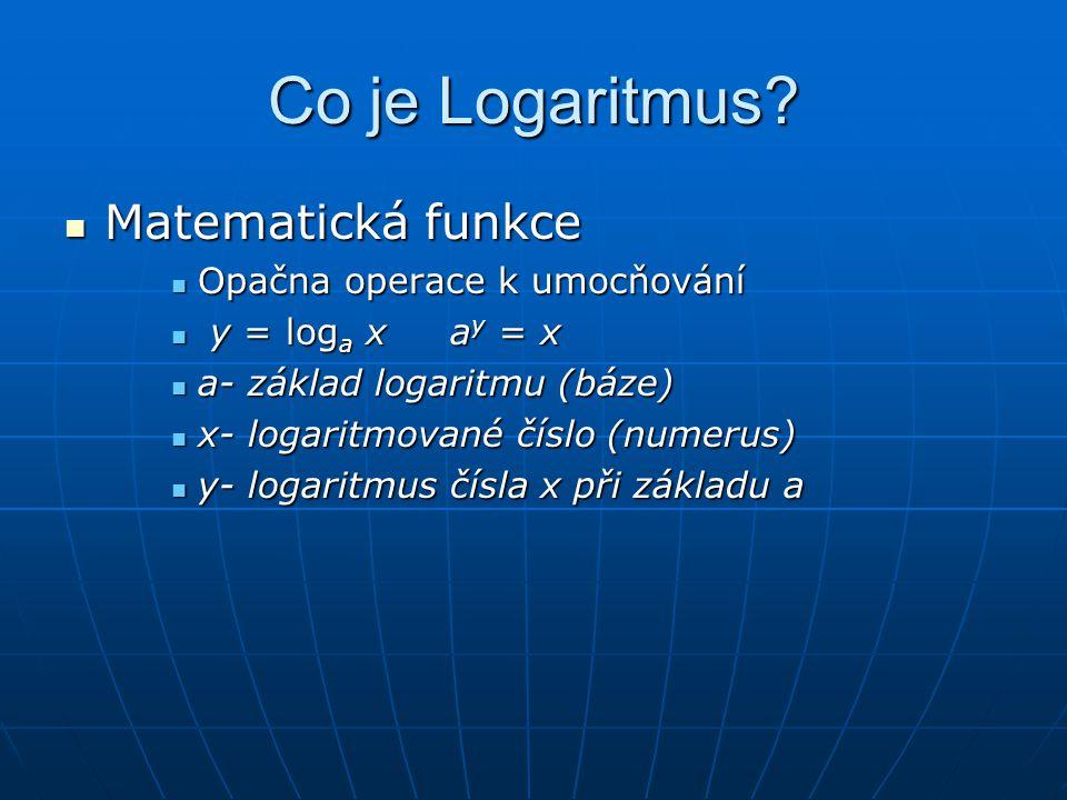 Co je Logaritmus?  Matematická funkce  Opačna operace k umocňování  y = log a x a y = x  a- základ logaritmu (báze)  x- logaritmované číslo (nume
