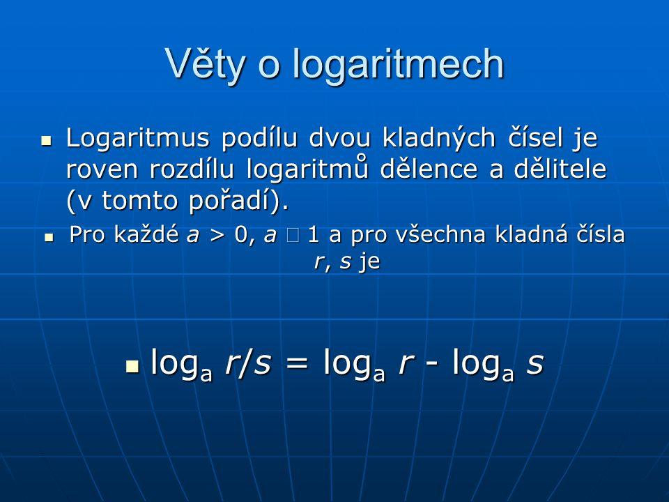 Věty o logaritmech  Logaritmus podílu dvou kladných čísel je roven rozdílu logaritmů dělence a dělitele (v tomto pořadí).  Pro každé a > 0, a  1 a