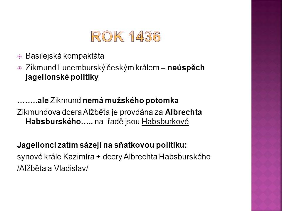  Basilejská kompaktáta  Zikmund Lucemburský českým králem – neúspěch jagellonské politiky ……..ale Zikmund nemá mužského potomka Zikmundova dcera Alž
