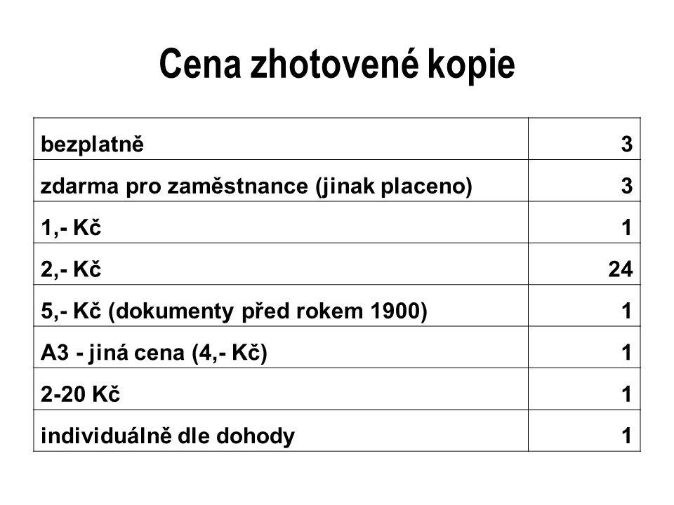 Cena zhotovené kopie bezplatně 3 zdarma pro zaměstnance (jinak placeno)3 1,- Kč 1 2,- Kč 24 5,- Kč (dokumenty před rokem 1900)1 A3 - jiná cena (4,- Kč) 1 2-20 Kč 1 individuálně dle dohody 1