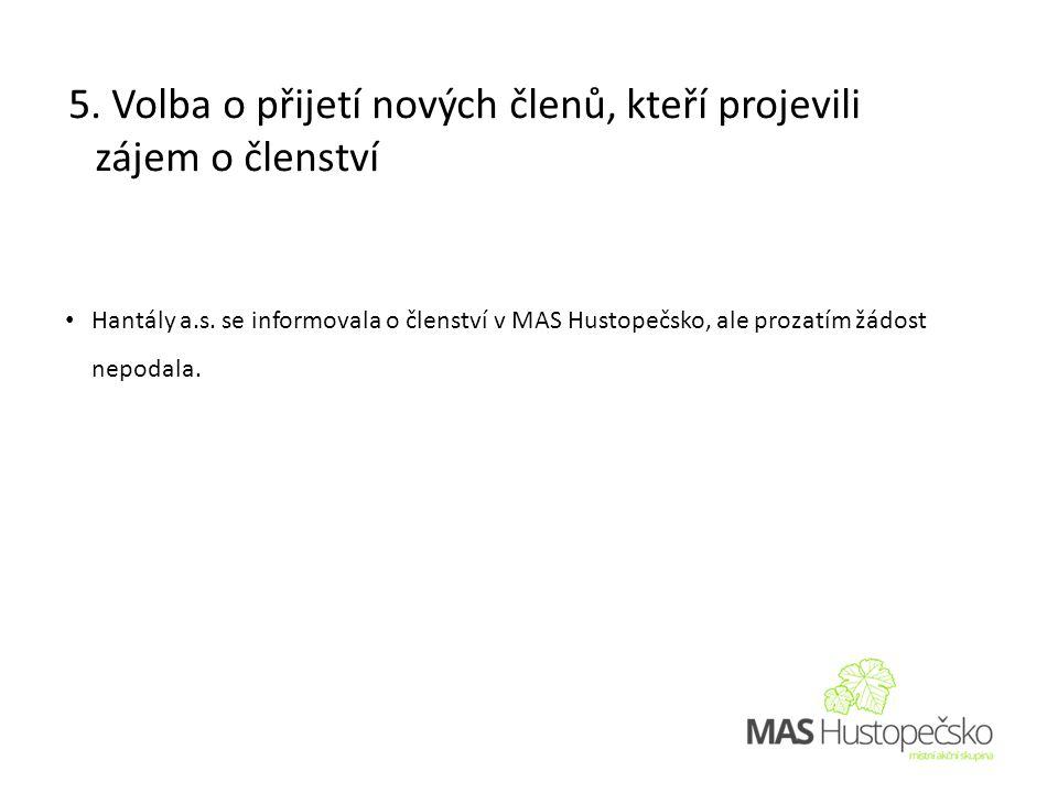 • Hantály a.s. se informovala o členství v MAS Hustopečsko, ale prozatím žádost nepodala.
