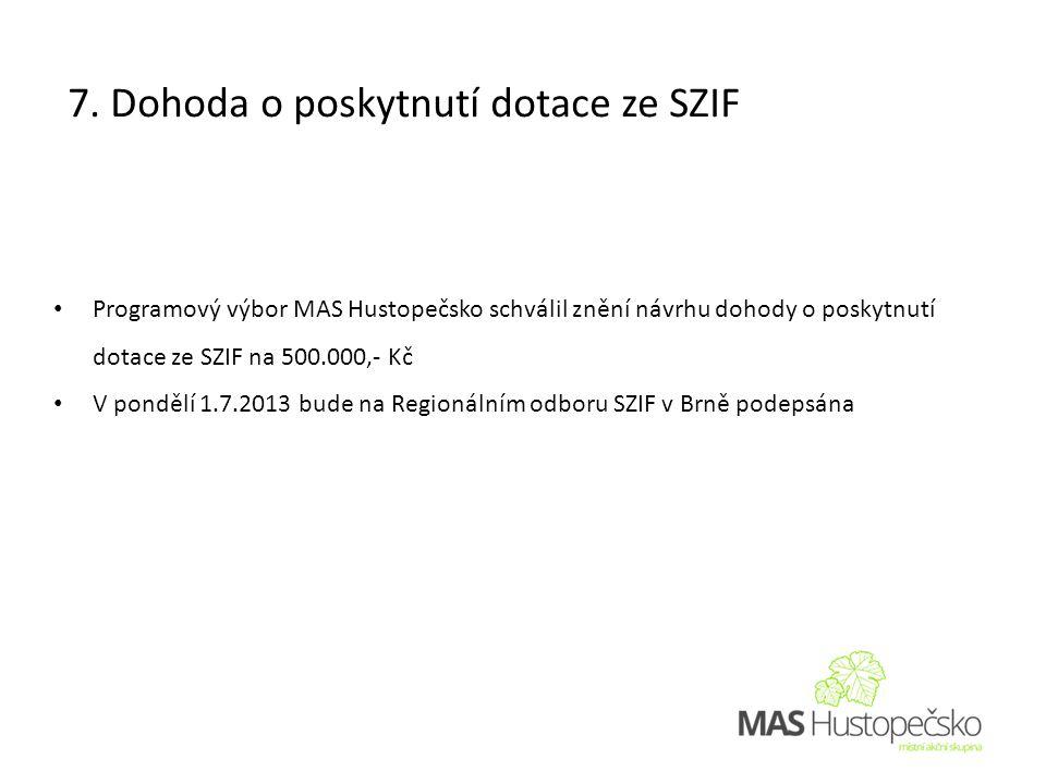 • Programový výbor MAS Hustopečsko schválil znění návrhu dohody o poskytnutí dotace ze SZIF na 500.000,- Kč • V pondělí 1.7.2013 bude na Regionálním odboru SZIF v Brně podepsána 7.