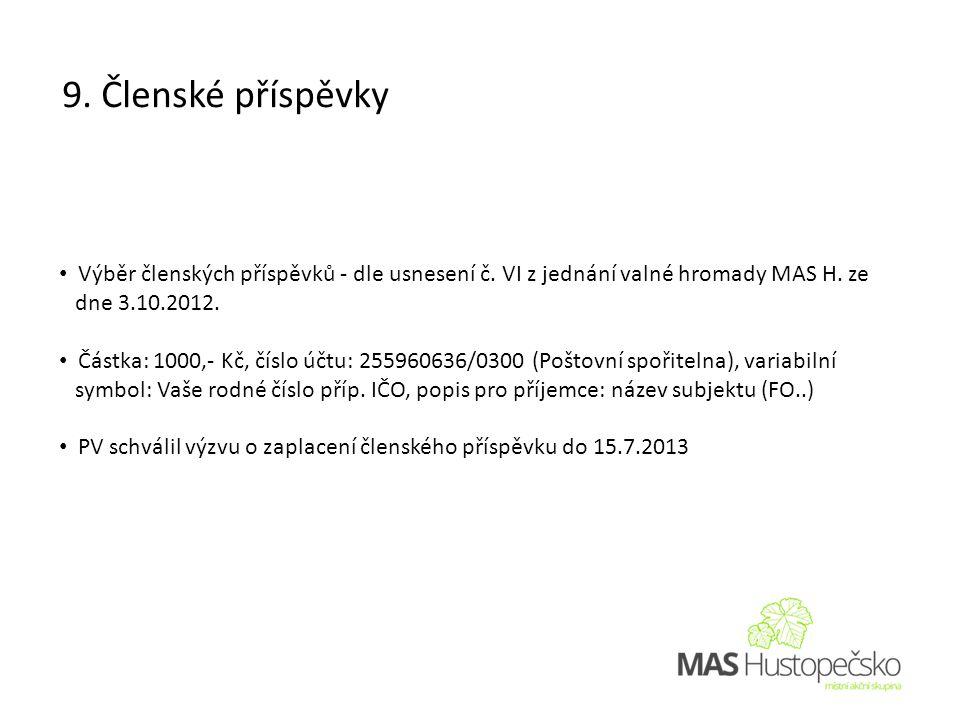 • Výběr členských příspěvků - dle usnesení č. VI z jednání valné hromady MAS H.