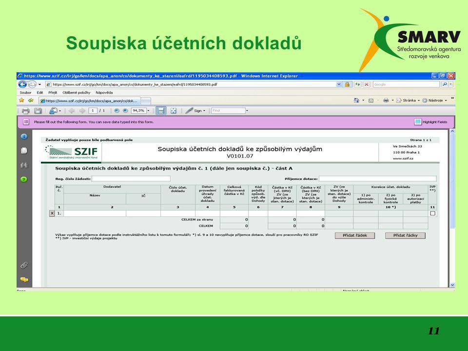 11 Soupiska účetních dokladů