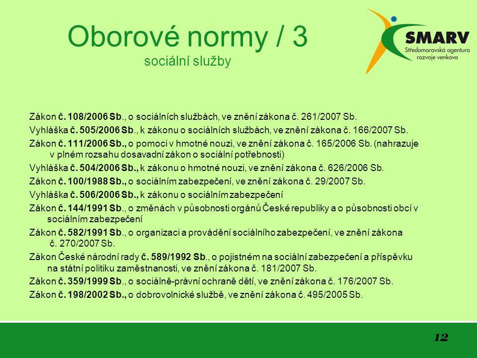 12 Oborové normy / 3 sociální služby Zákon č.
