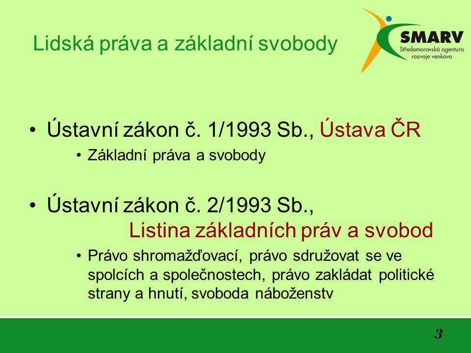 3 Lidská práva a základní svobody •Ústavní zákon č.