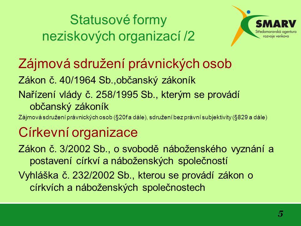 5 Statusové formy neziskových organizací /2 Zájmová sdružení právnických osob Zákon č.