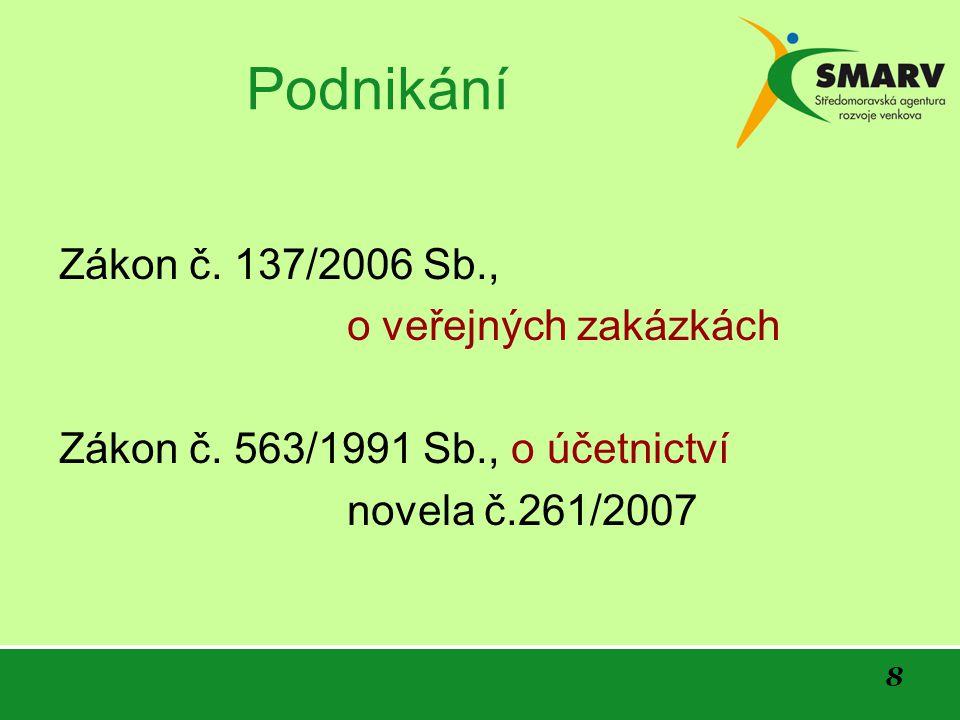 8 Podnikání Zákon č. 137/2006 Sb., o veřejných zakázkách Zákon č.