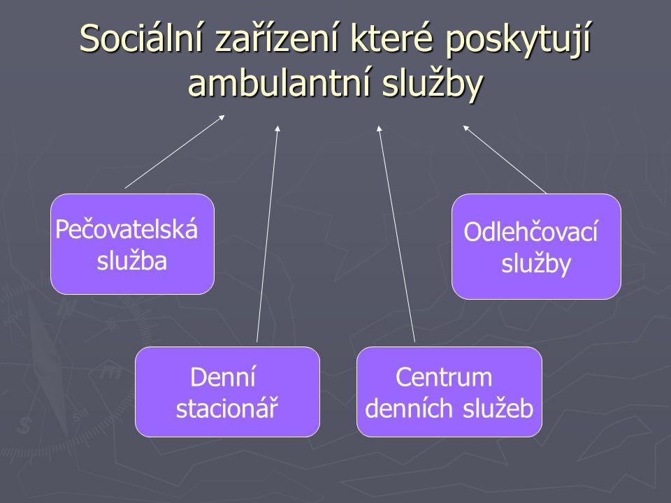 Sociální zařízení které poskytují terénní služby Osobní asistence Pečovatelská služba Odlehčovací služba
