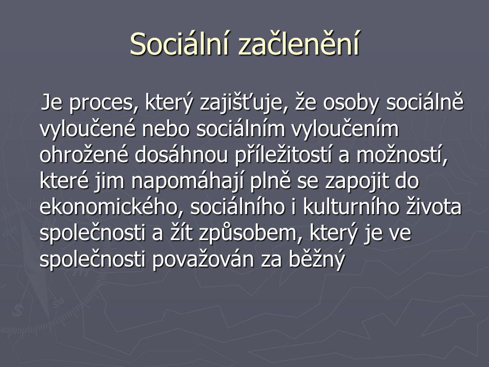 Sociální vyloučení Sociální vyloučení odráží nerovnost jednotlivců nebo celých skupin obyvatelstva v životě společnosti.