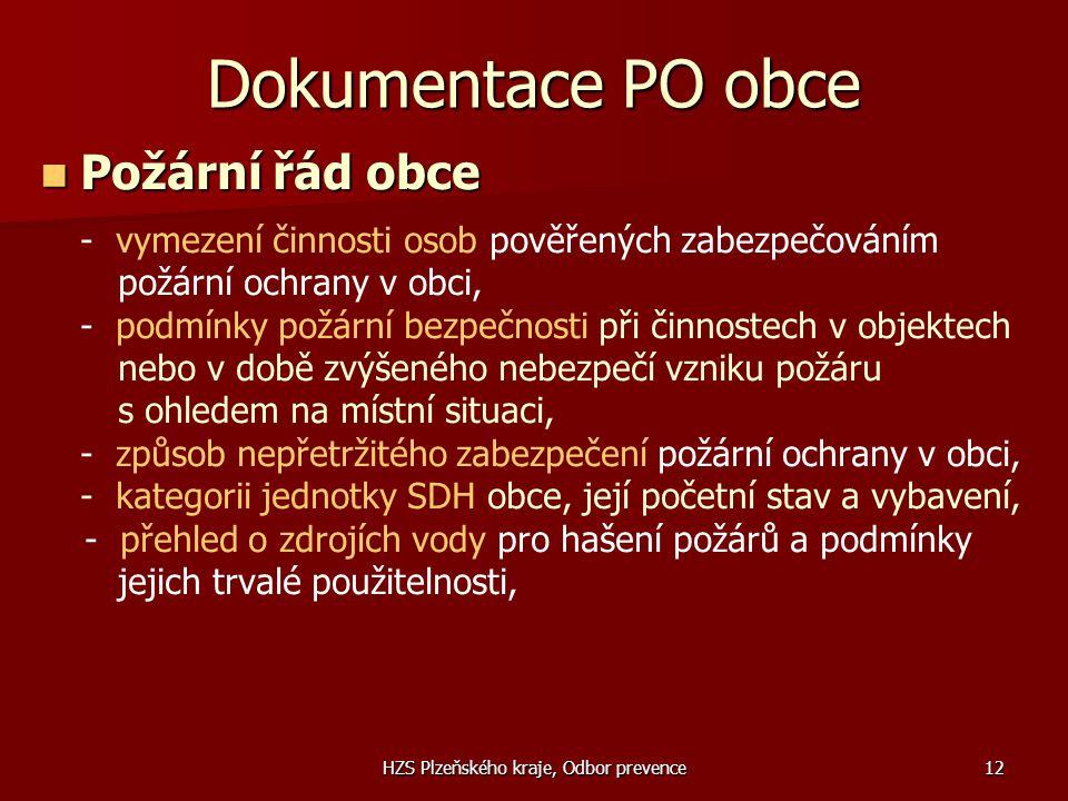 HZS Plzeňského kraje, Odbor prevence12 Dokumentace PO obce  Požární řád obce - vymezení činnosti osob pověřených zabezpečováním požární ochrany v obc
