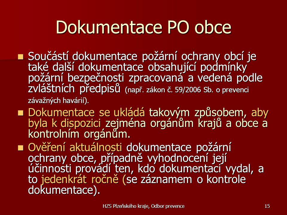 HZS Plzeňského kraje, Odbor prevence15 Dokumentace PO obce  Součástí dokumentace požární ochrany obcí je také další dokumentace obsahující podmínky p