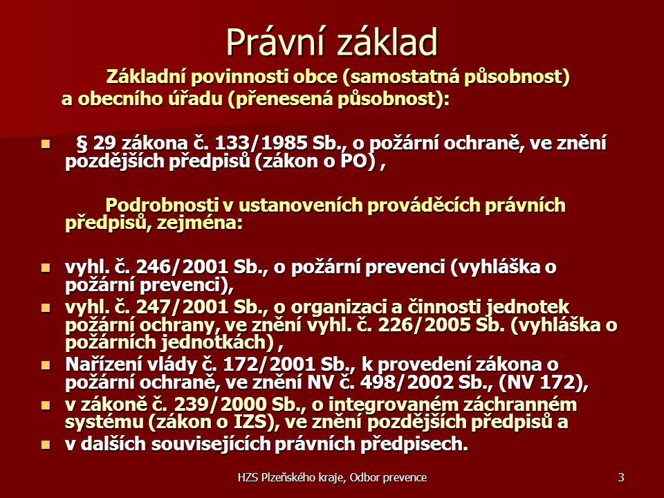 HZS Plzeňského kraje, Odbor prevence3 Právní základ Základní povinnosti obce (samostatná působnost) Základní povinnosti obce (samostatná působnost) a