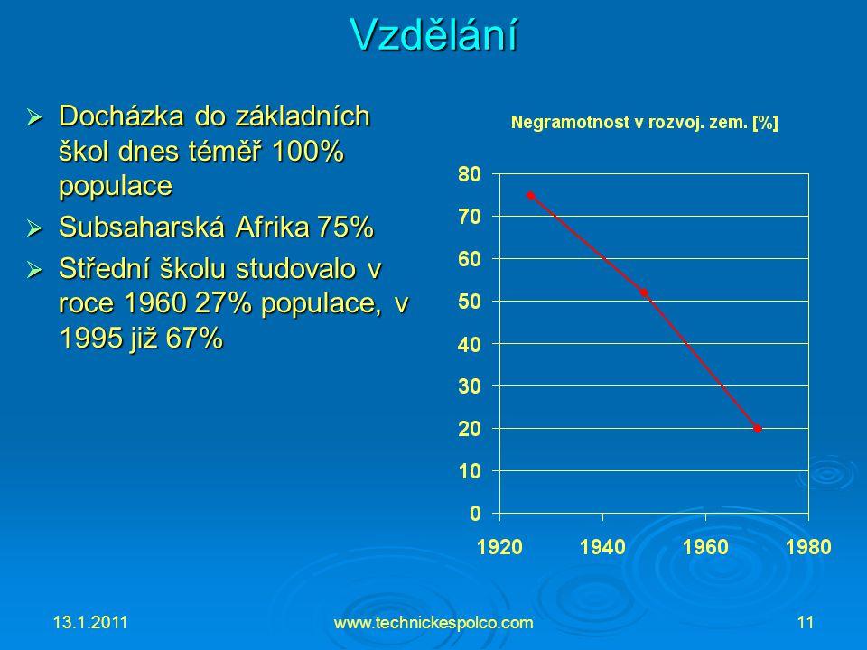13.1.2011www.technickespolco.com11Vzdělání  Docházka do základních škol dnes téměř 100% populace  Subsaharská Afrika 75%  Střední školu studovalo v roce 1960 27% populace, v 1995 již 67%