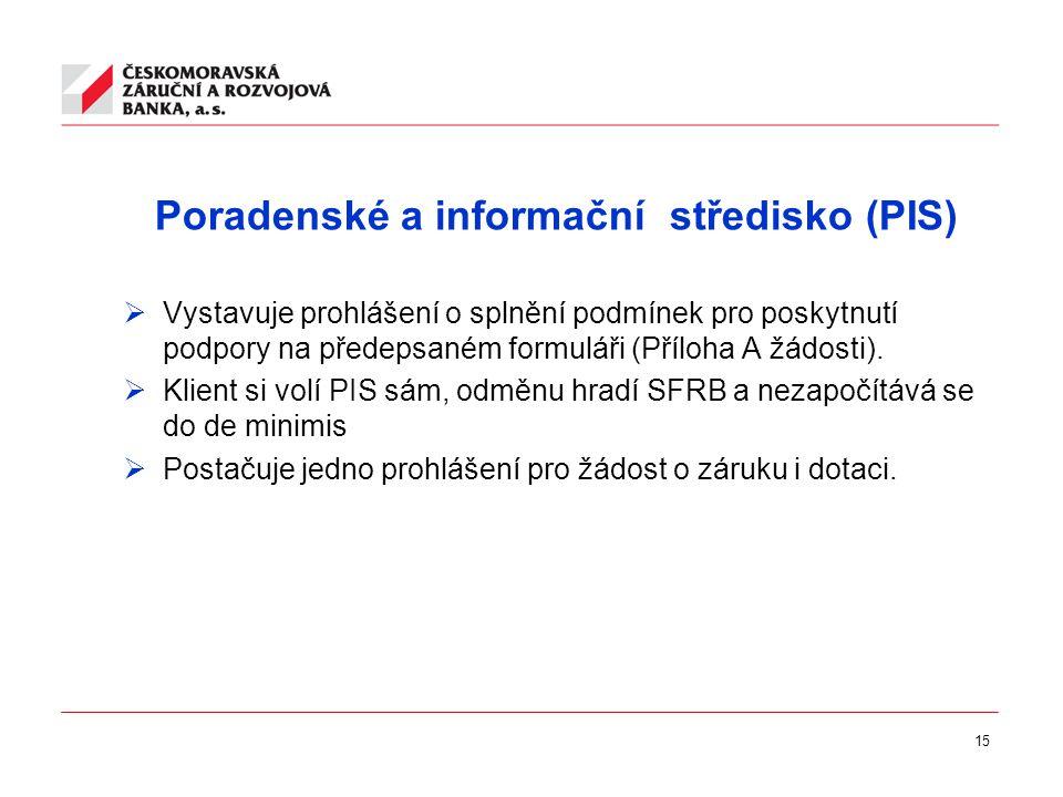 15 Poradenské a informační středisko (PIS)  Vystavuje prohlášení o splnění podmínek pro poskytnutí podpory na předepsaném formuláři (Příloha A žádosti).