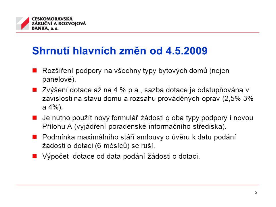5 Shrnutí hlavních změn od 4.5.2009  Rozšíření podpory na všechny typy bytových domů (nejen panelové).
