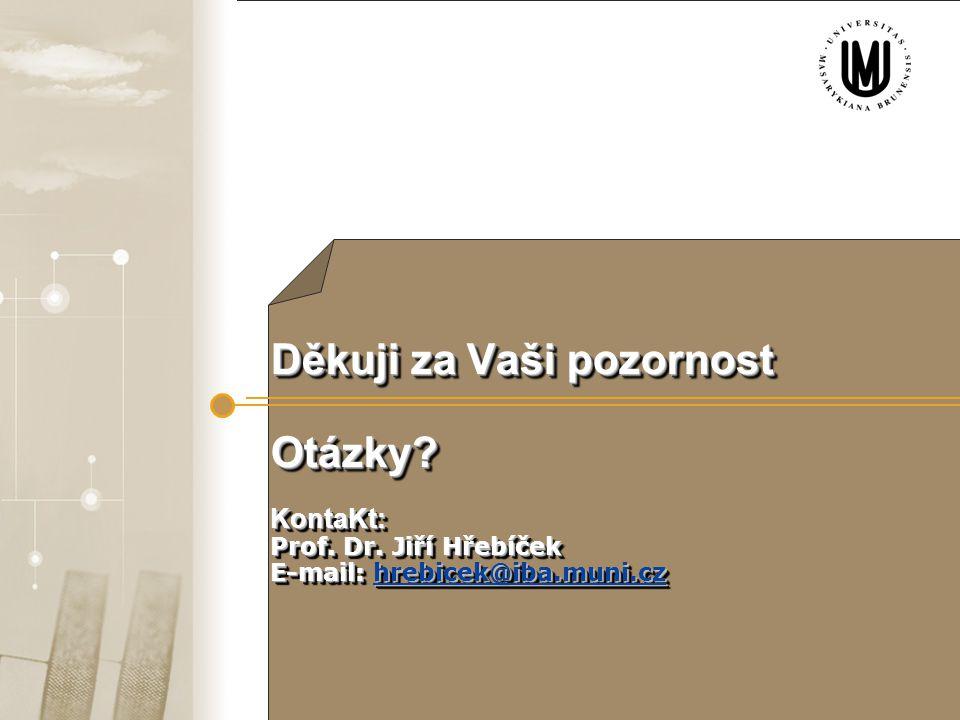 Enviri-i-forum, Zvolen, 9.6. 2009  ffgf 27 Děkuji za Vaši pozornost Otázky? KontaKt: Prof. Dr. Jiří Hřebíček E-mail: hrebicek@iba.muni.cz hrebicek@ib