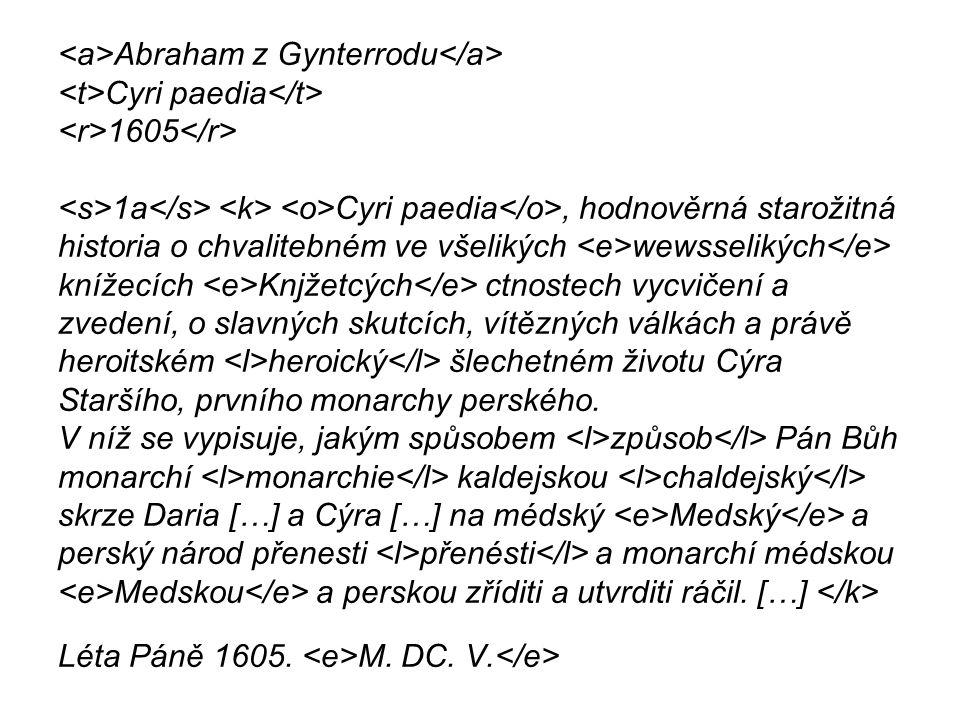Abraham z Gynterrodu Cyri paedia 1605 1a Cyri paedia, hodnověrná starožitná historia o chvalitebném ve všelikých wewsselikých knížecích Knjžetcých ctnostech vycvičení a zvedení, o slavných skutcích, vítězných válkách a právě heroitském heroický šlechetném životu Cýra Staršího, prvního monarchy perského.